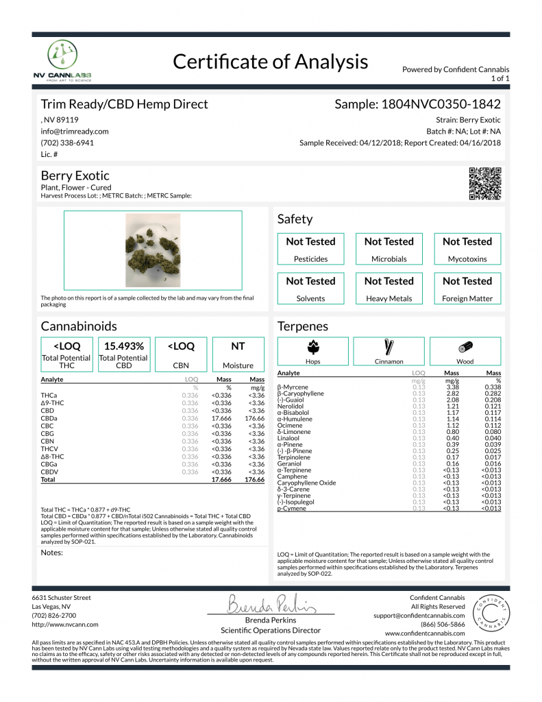 Berry Exotic COA 1 CBD Flower Lab Test Results